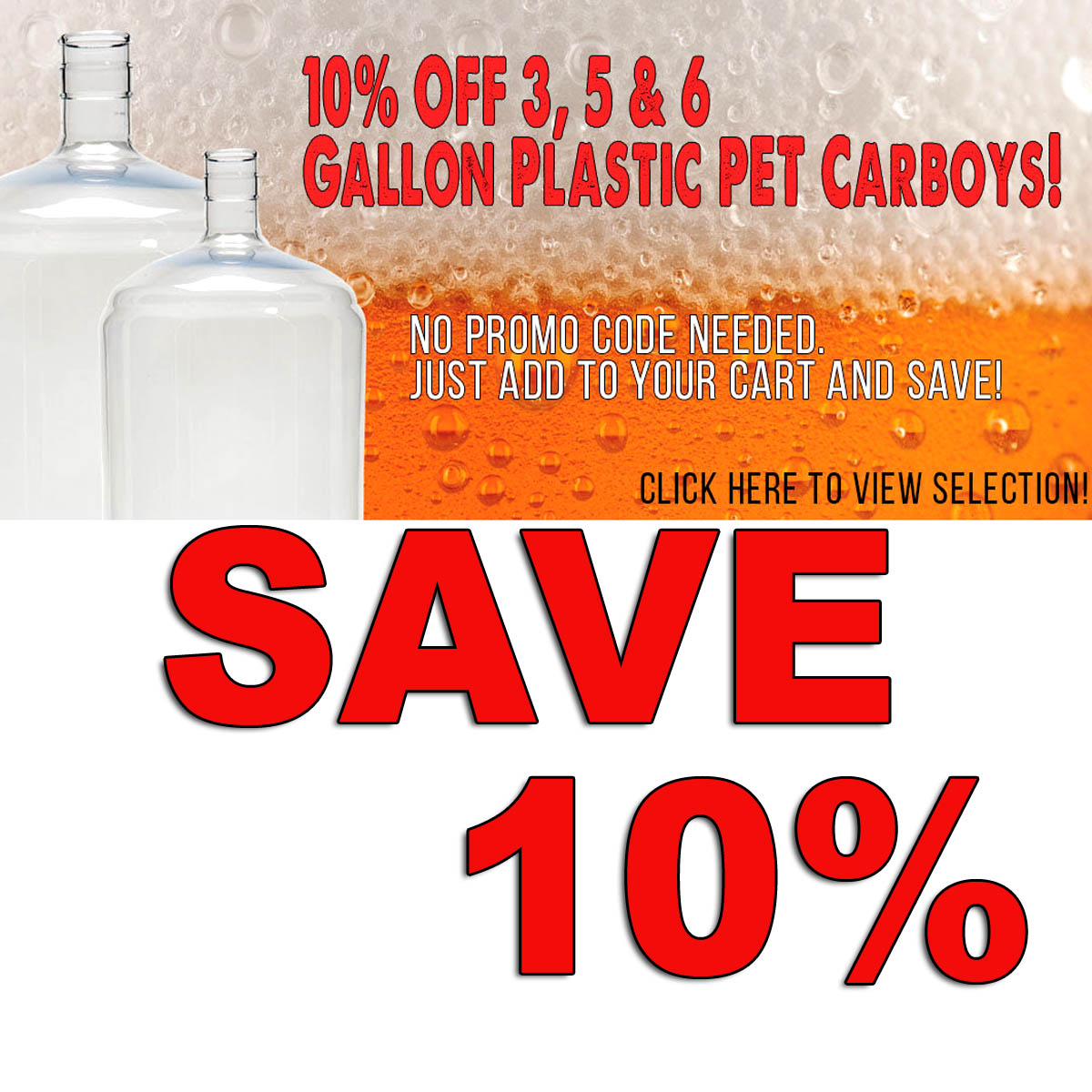 Home Wine Making Coupon Codes for Save 10% On PET Plastic Carboys + Free Shipping Over $59 Coupon Code