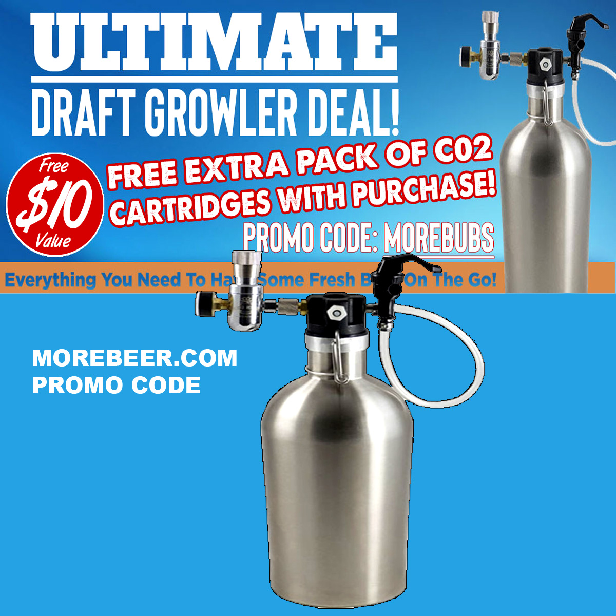 Home Wine Making Coupon Codes for Get A Free Extra Pack Of CO2 Cartridges with the Purchase Of Ultimate Draft Growler MoreBeer.com Promo Code Coupon Code