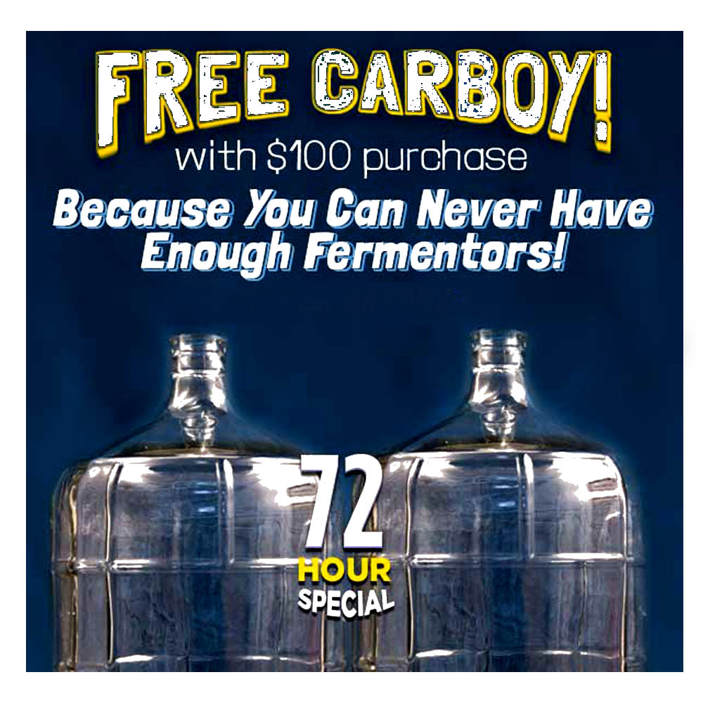 Home Wine Making Coupon Codes for Spend $100 at NorthernBrewer.com and Get A Free Glass Carboy Coupon Code