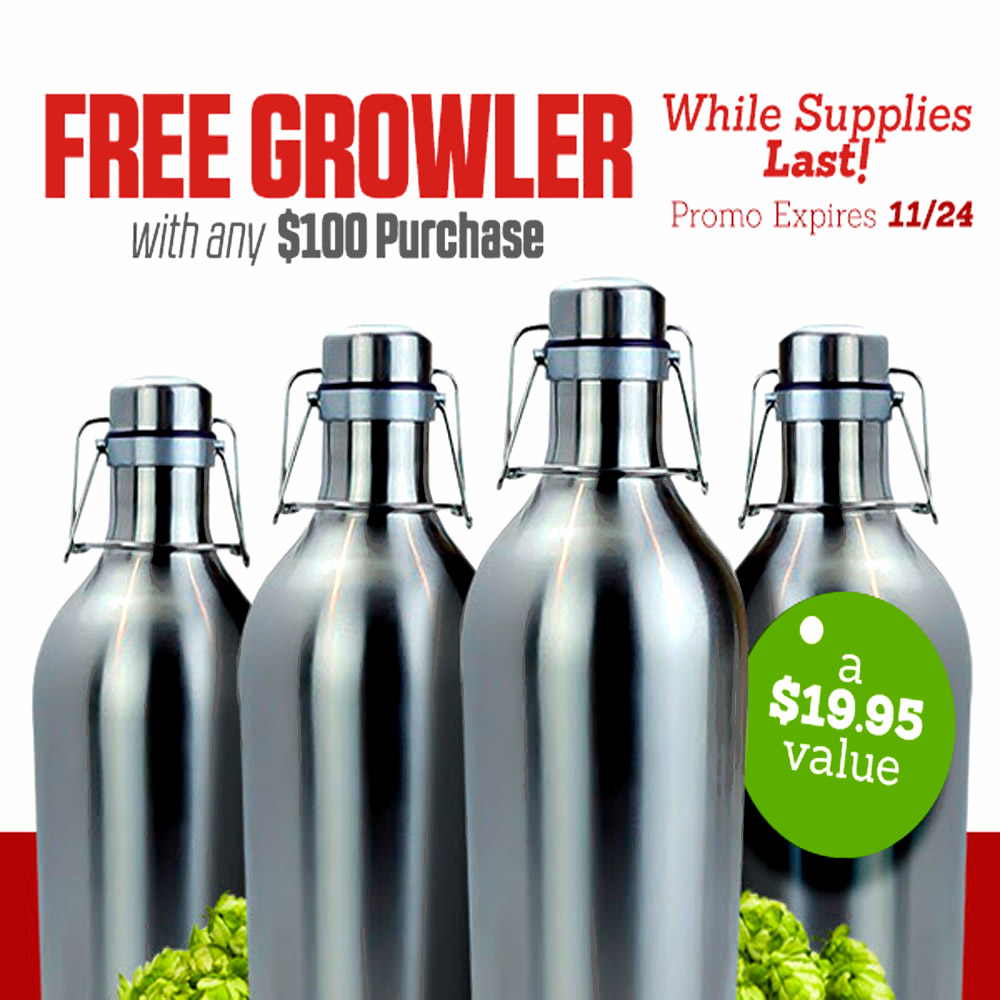 Home Wine Making Coupon Codes for Get a Free Stainless Steel Growler with a $100+ Purchase Coupon Code
