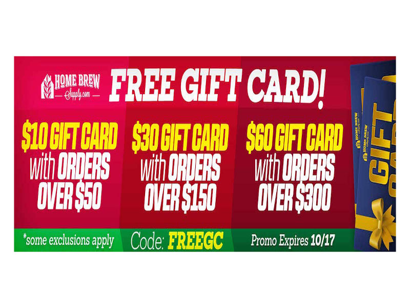 Home Wine Making Coupon Codes for Get a Free Gift Card at Homebrew Supply! Coupon Code