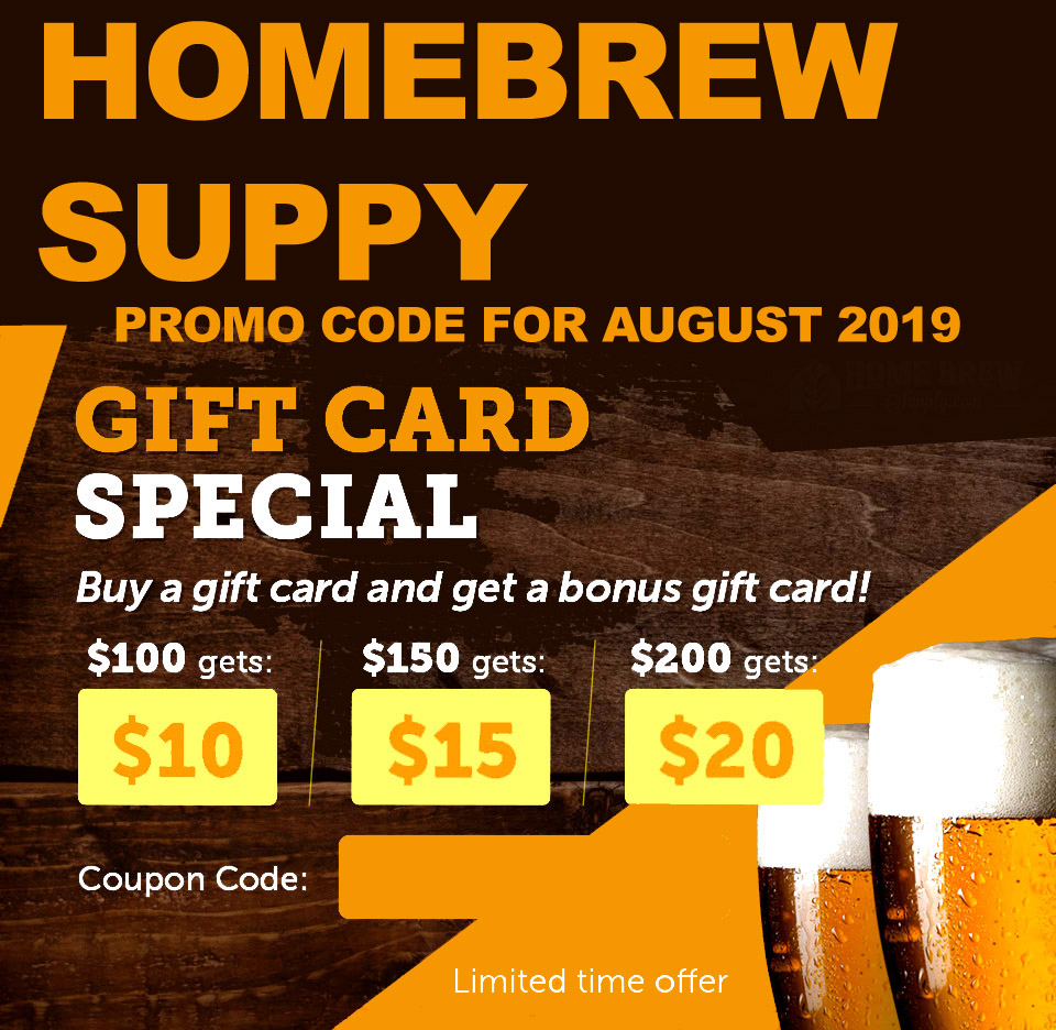 Home Wine Making Coupon Codes for Get a Free Homebrewing Giftcard With Your HomebrewSupply.com Purchase Coupon Code Coupon Code