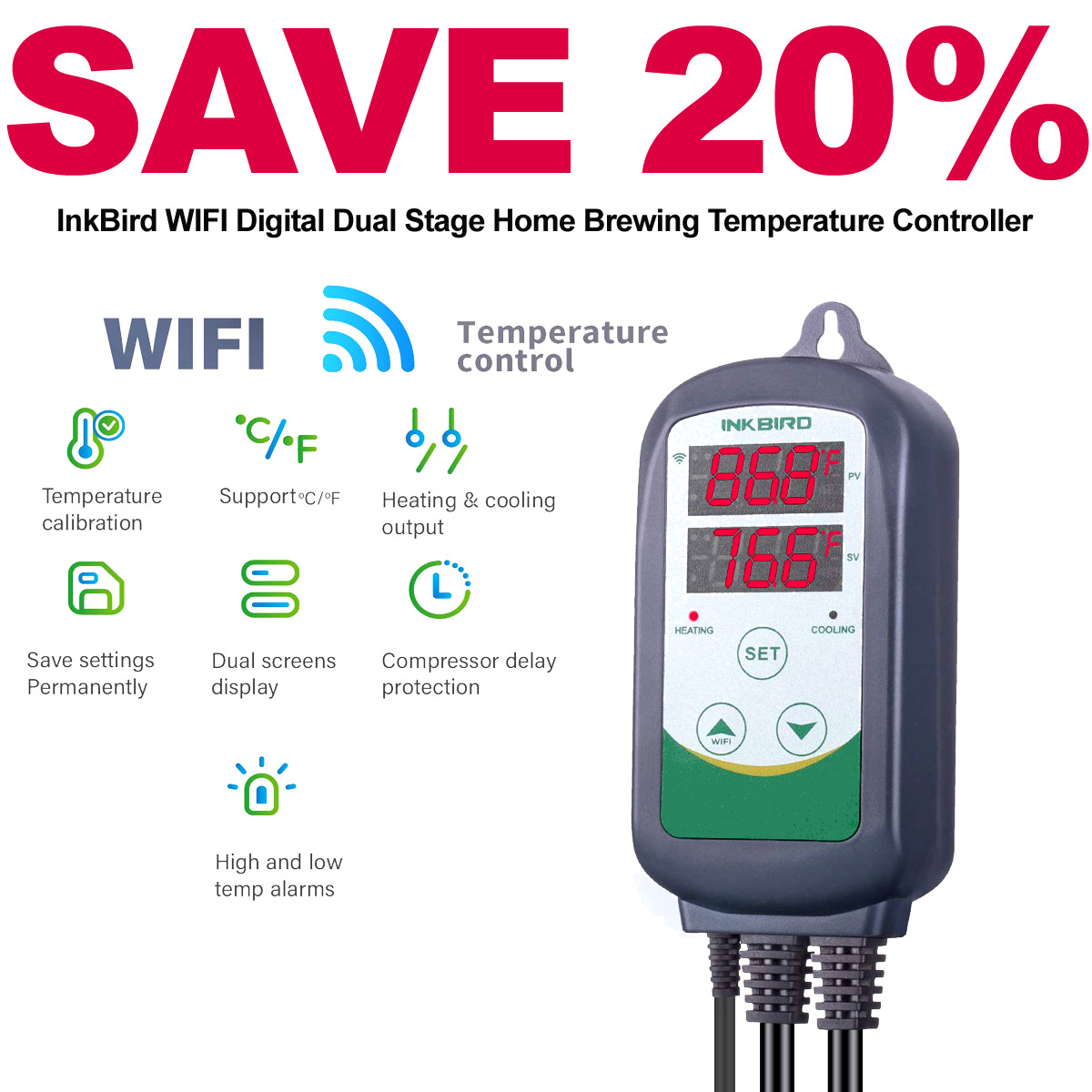 Home Wine Making Coupon Codes for Save 20% On An Inkbird Dual Stage Temperature Controller with WIFI Connectivity with this INKBIRD Promo Code. Plus get FREE Shipping. Coupon Code