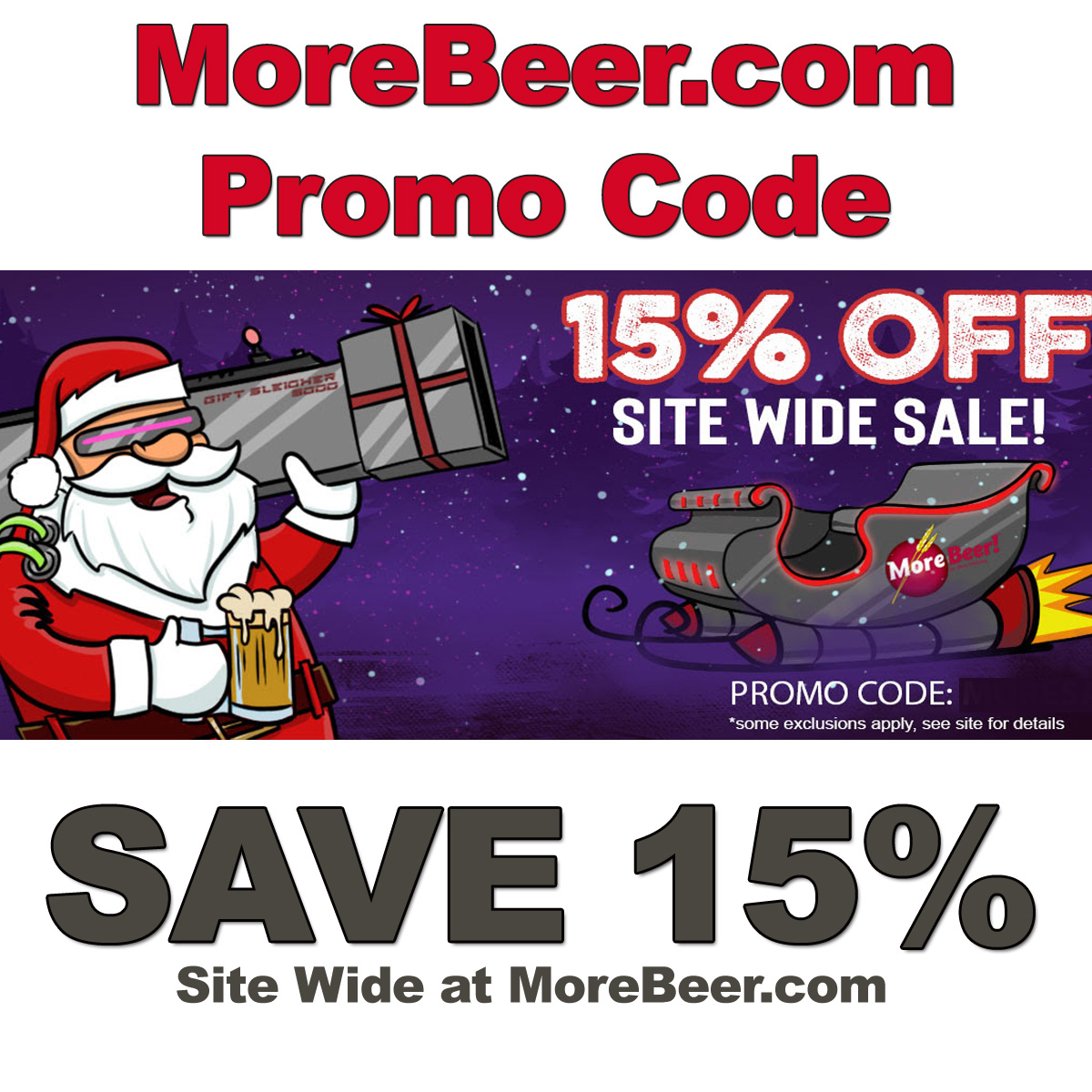 Home Wine Making Coupon Codes for Save 15% Site Wide at MoreBeer.com with this More Beer Promo Code for December Coupon Code