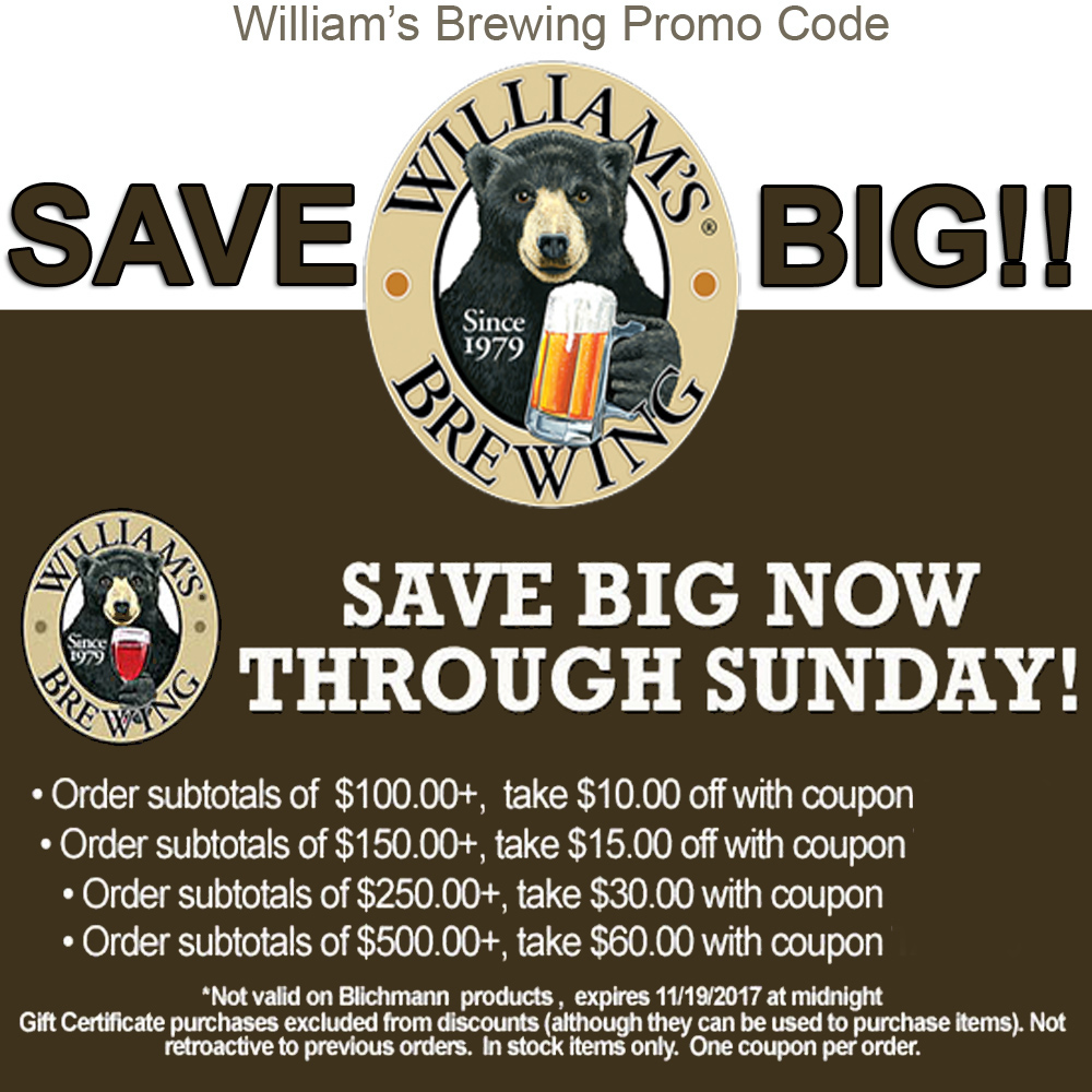 Home Wine Making Coupon Codes for Save Big At Williams Brewing. Save Up To $60 Off Your Order! Coupon Code