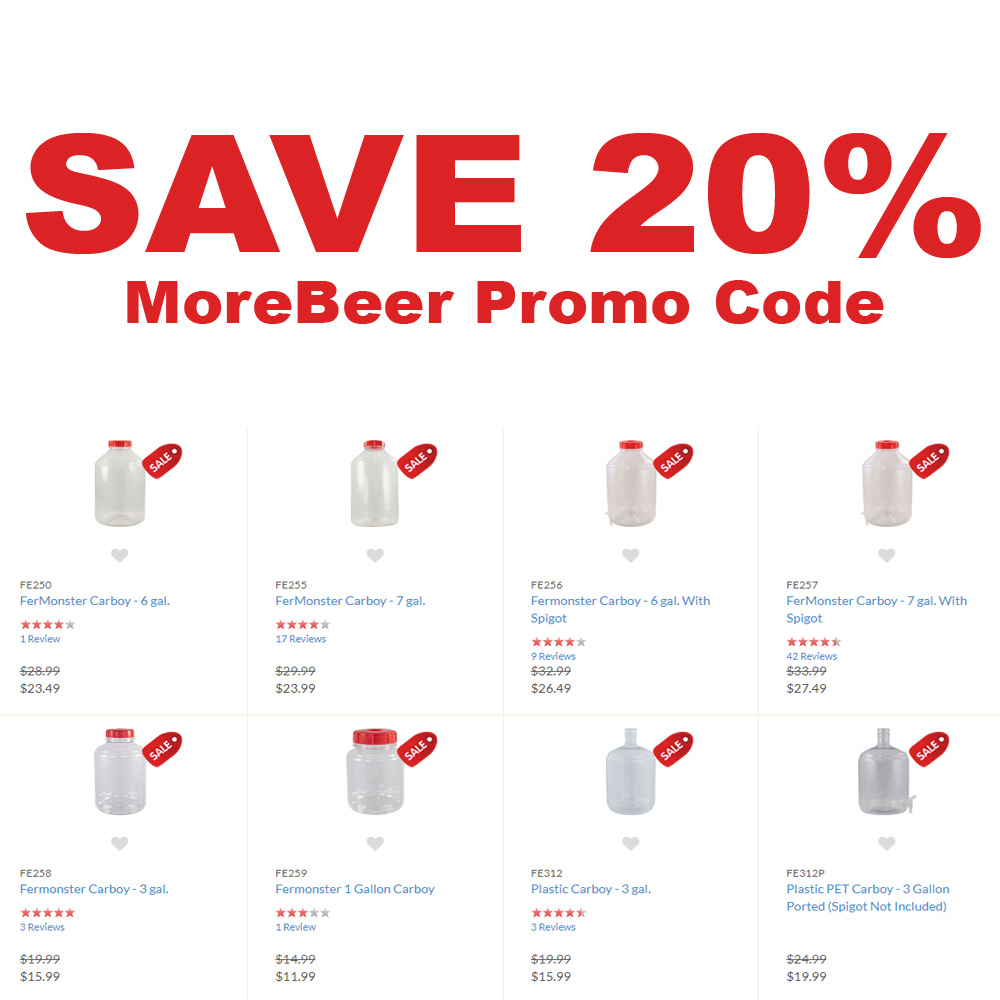 Home Wine Making Coupon Codes for Save 20% Off Select Carboys At MoreBeer Coupon Code