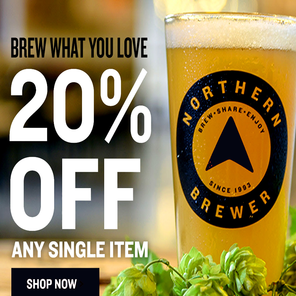 Home Wine Making Coupon Codes for Save 20% On A Single Item At NorthernBrewer.com Coupon Code