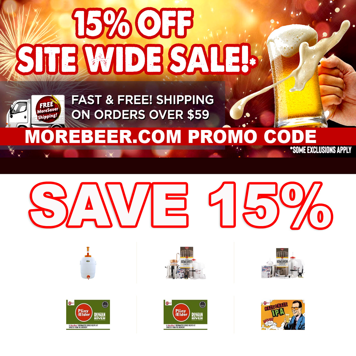 Home Wine Making Coupon Codes for Save 15% Site Wide at More Beer with this MoreBeer.com Promo Code Coupon Code