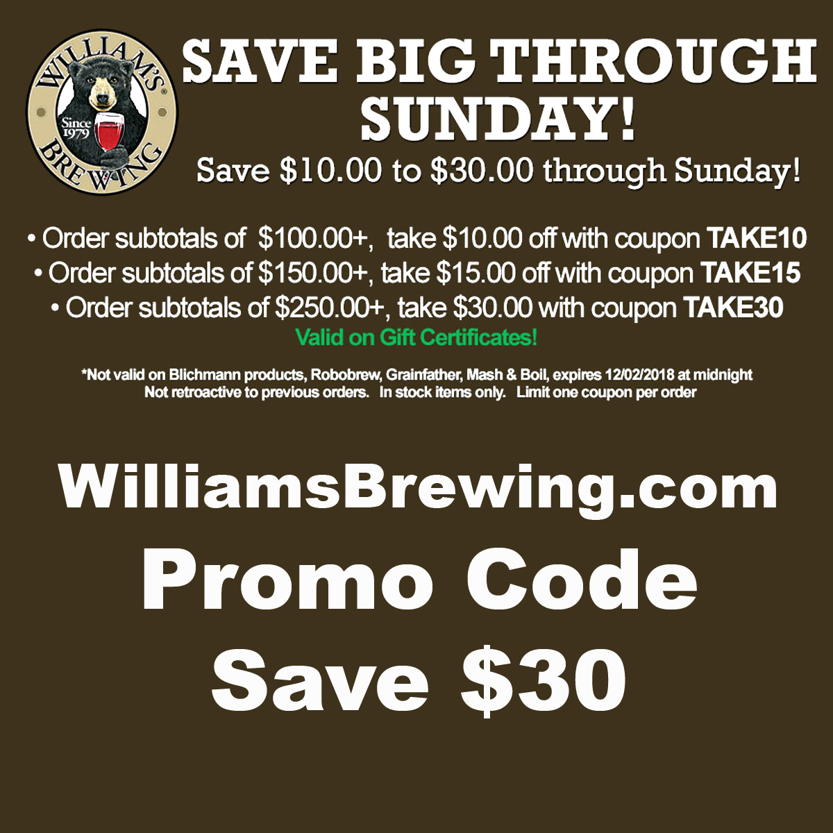 Home Wine Making Coupon Codes for Save Up To An Extra $30 At Williams Brewing With This WilliamsBrewing.com Promo Code Coupon Code