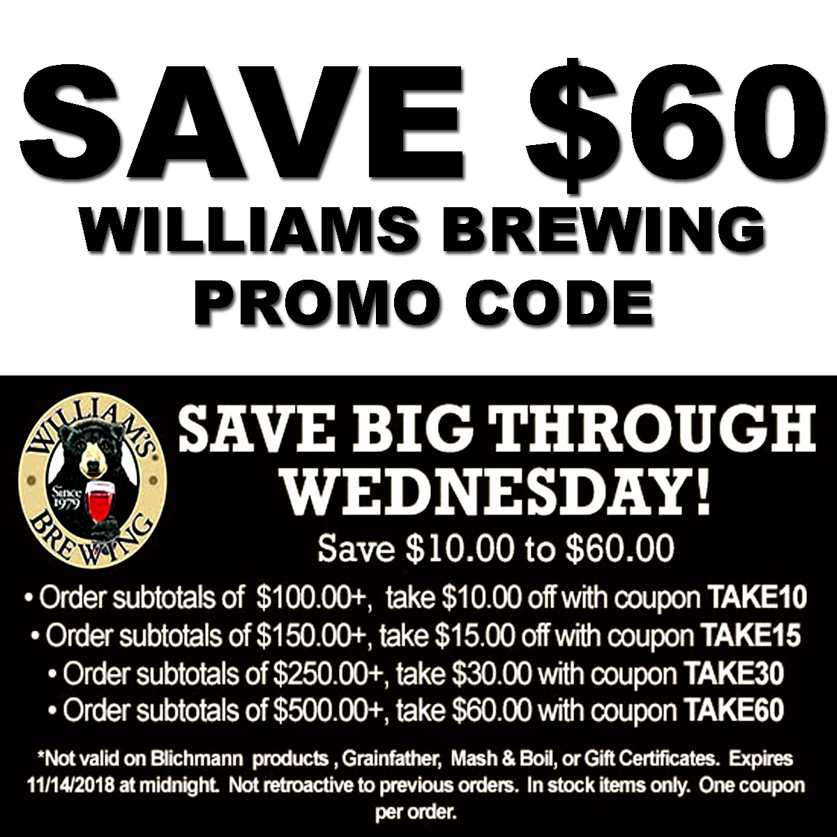 Home Wine Making Coupon Codes for Save up to $60 on your WilliamsBrewing.com Purchase with this William's Brewing Coupon Coupon Code