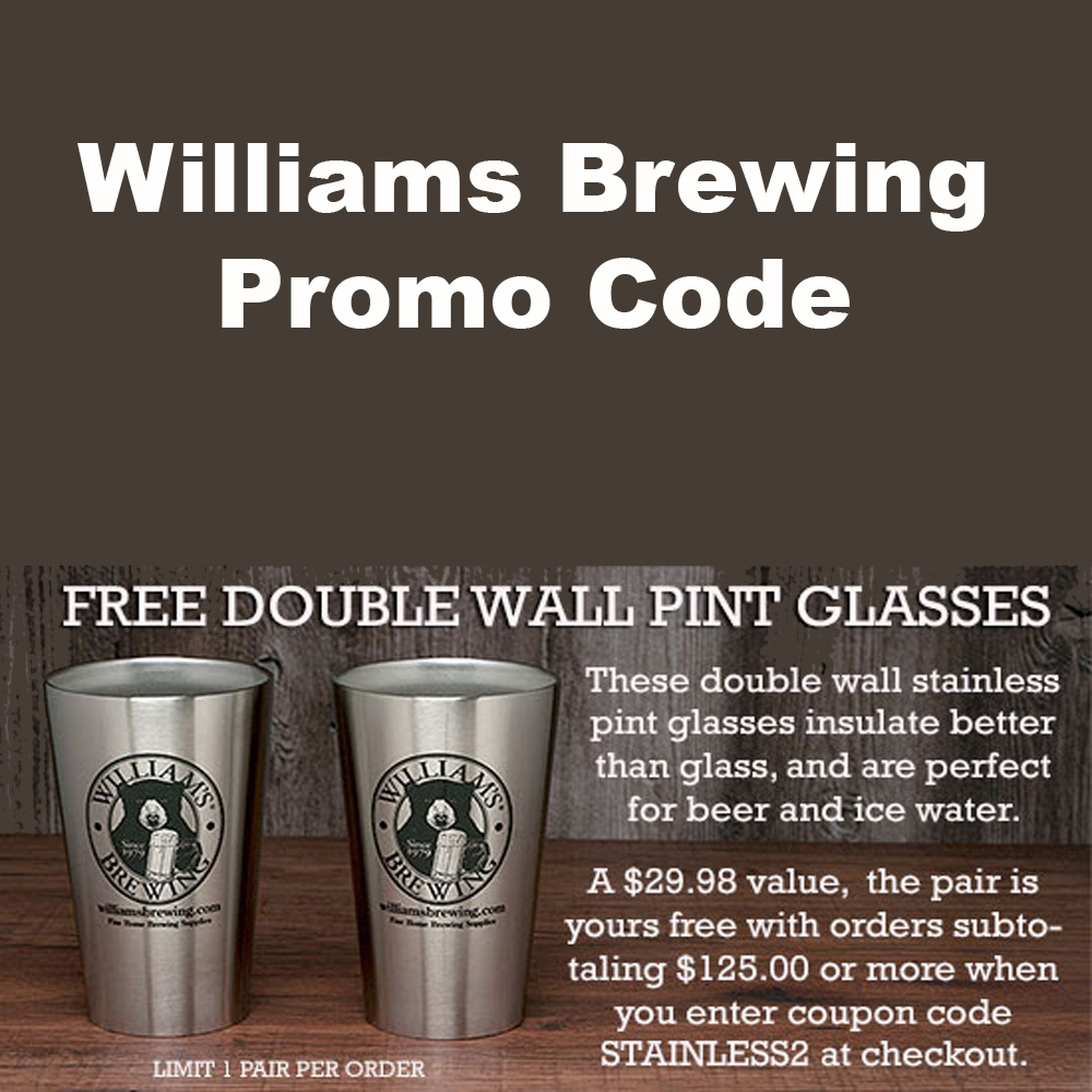Home Wine Making Coupon Codes for Get 2 FREE Stainless Steel Double Walled Pint Glasses With A $125 Purchase Coupon Code