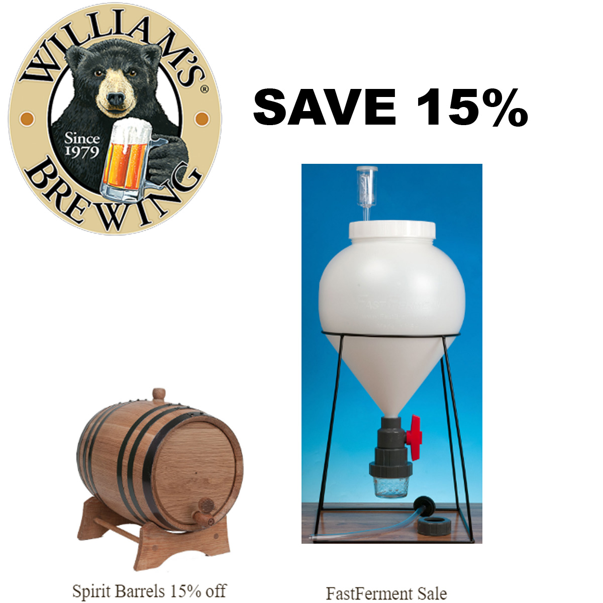 Home Wine Making Coupon Codes for Save 15% On Fast Ferment Fermenters at Williams Brewing Coupon Code Coupon Code