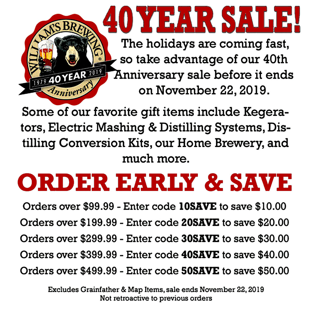Home Wine Making Coupon Codes for Save As Much as $50 On Your WilliamsBrewing.com Purchase With This Williams Brewing Coupon Code for November. Coupon Code