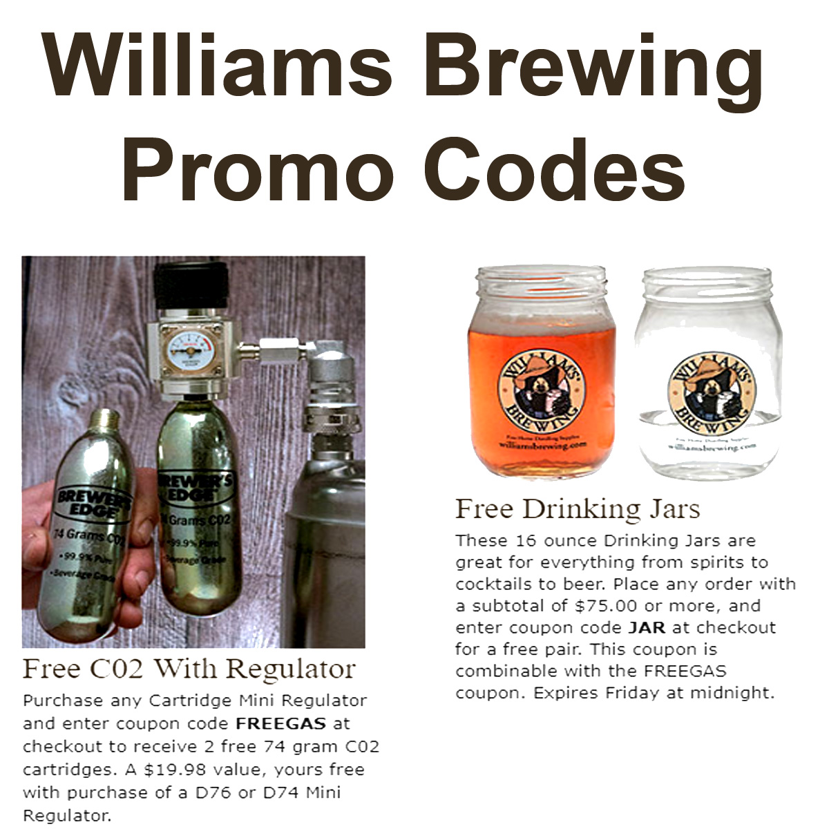 Home Wine Making Coupon Codes for Two WilliamsBrewing.com Promo Codes for FREE CO2 and FREE Drinking Glasses With These Williams Brewing Promo Codes Coupon Code