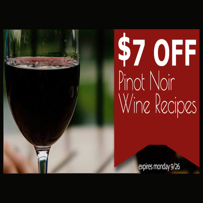 Home Wine Making Coupon Codes for Receive $7 Off Any Pinot Noir Wine Kit Coupon Code